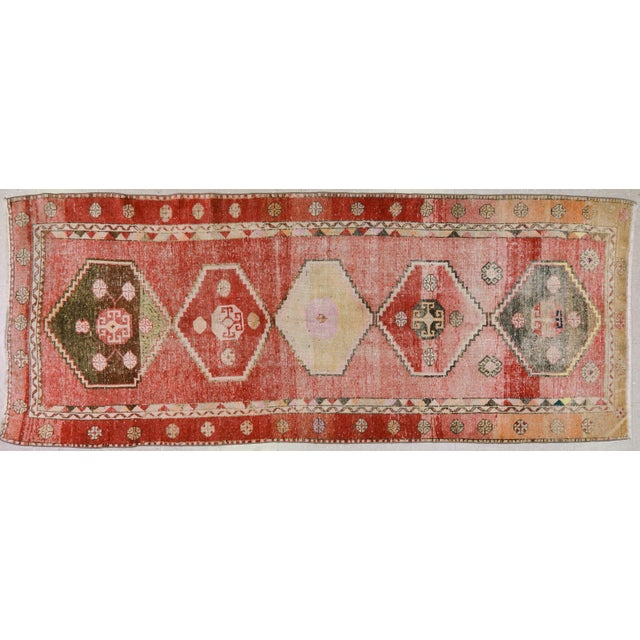 "Vintage Turkish Oushak Rug,4'3""x10'4"" For Sale In New York - Image 6 of 6"
