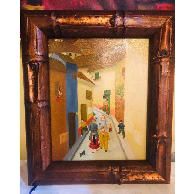 Brown Oil on Canvas Street Scene - Framed For Sale - Image 8 of 8