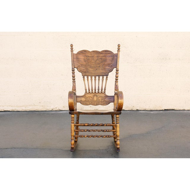 Awesome Vintage Oak Rocking Chair With Pressed Back Design Machost Co Dining Chair Design Ideas Machostcouk