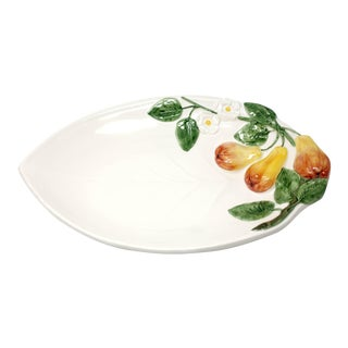 "Vintage 17"" Italian Leaf-Shaped Platter With Pears For Sale"