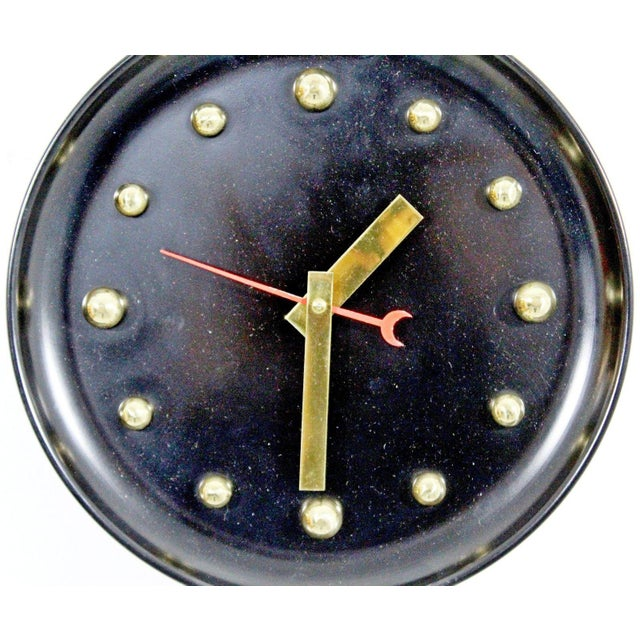 1950s 1960s Mid Century Modern George Nelson Style Black Face Brass Ball Wall Clock For Sale - Image 5 of 8