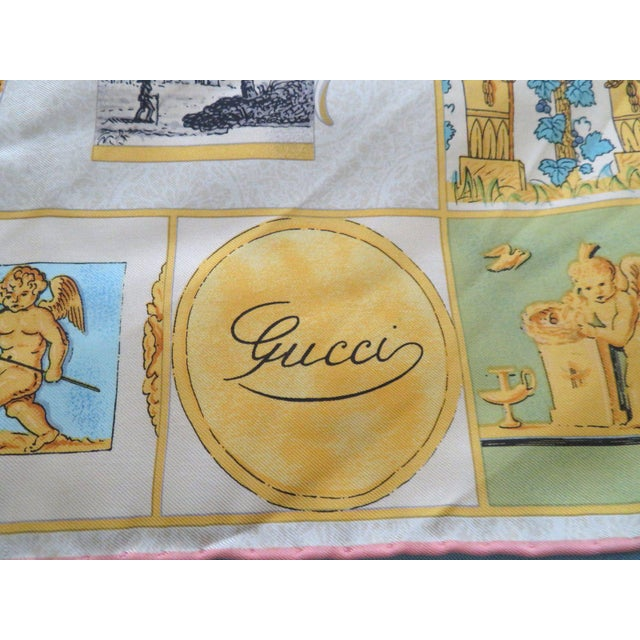 "Silk Vintage Gucci ""High Tea"" Silk Scarf For Sale - Image 7 of 9"