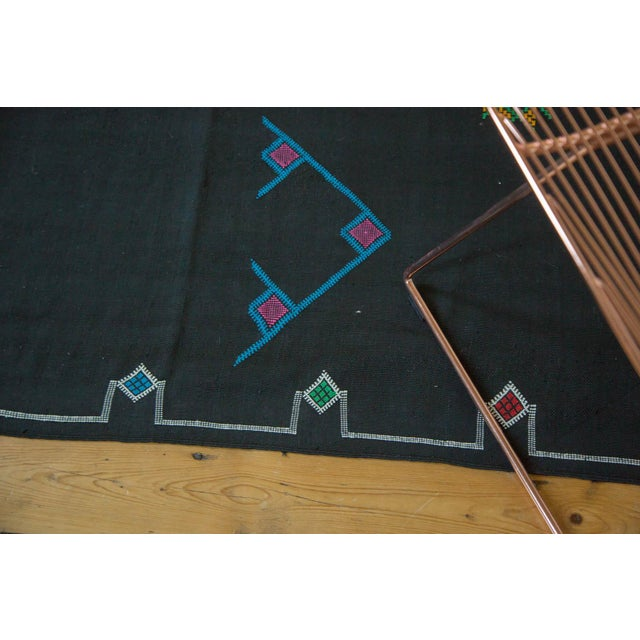 Black Moroccan Embroidered Kilim Carpet - 6' x 9' - Image 5 of 7