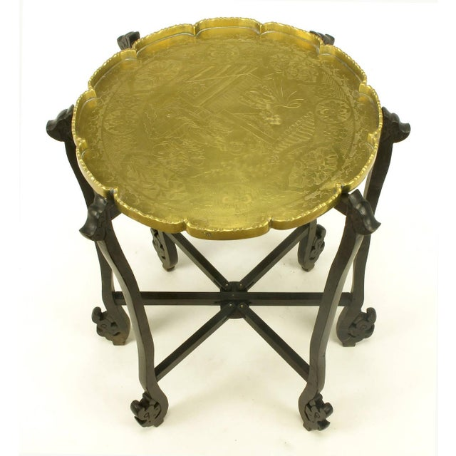 Contemporary Carved Ebony Folding Table with Etched Brass Tray Top For Sale - Image 3 of 9