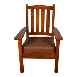 1900 Antique Solid Tiger Oak & Leather Stickley Bros Co Grand Rapids Arm Chair For Sale