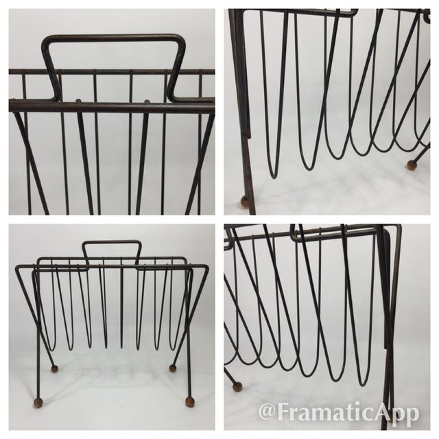 Vintage Mid Century Modern Atomic Space Age Magazine Rack For Sale - Image 9 of 9