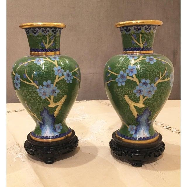 Green & Blue Floral Cloisonne Vases - A Pair - Image 6 of 8