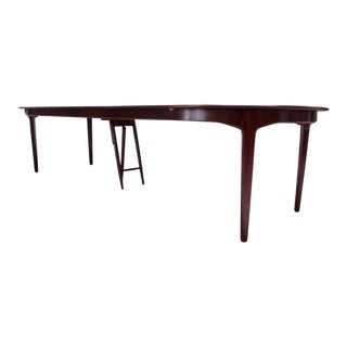 Large Rosewood and Brass Extension Dining Table by Henning Kjærnulf for Sorø For Sale