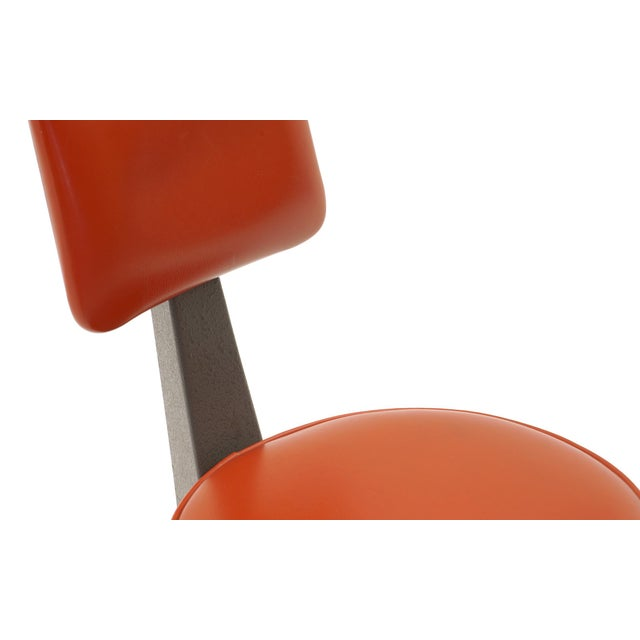 Metal Industrial Design Swivel Chair on Casters by American Optical Corp Red Orange For Sale - Image 7 of 11