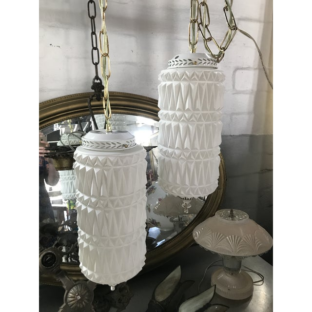 Mid-Century Modern Pendant Swag Lights - a Pair For Sale - Image 9 of 9
