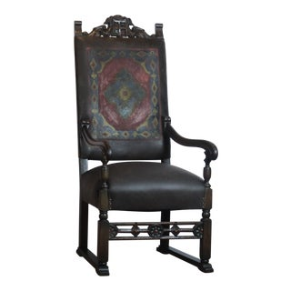 1920s Gothic Style Leather Dining / Side Chair For Sale