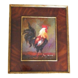 Rooster Oil Painting on Board in Burl Walnut Frame For Sale