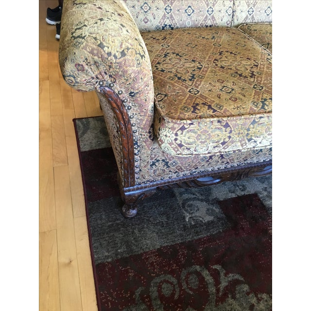 1930s Scroll Arm Upholstered Sofa - Image 3 of 6