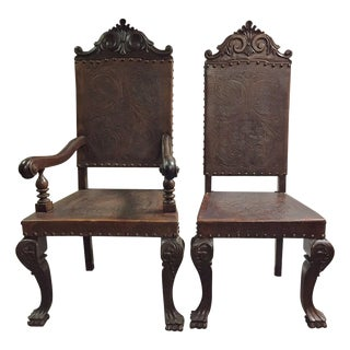 Seath Set of 2/4 Portuguese Baroque Style Leather Chairs For Sale