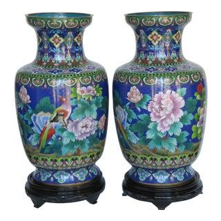 Pair of Antique Chinese Decorative Cloisonné Enamel Vases- 2 Pieces For Sale