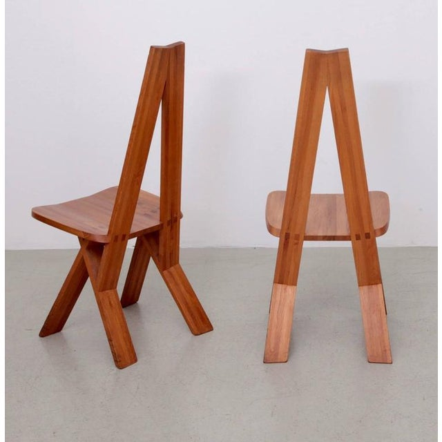 Pierre Chapo Pair of Two Pierre Chapo S45 Chairs in Solid Elm For Sale - Image 4 of 6