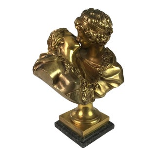 Bronze Bust of Lovers with Marble Base For Sale