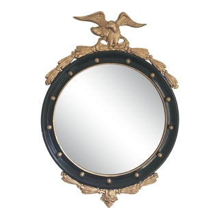Round Black and Gold Vintage Federal Style Mirror For Sale