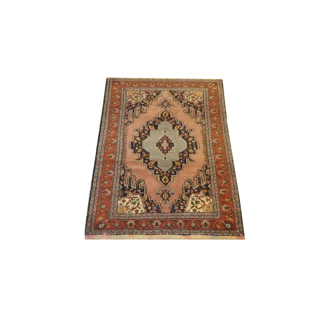 "Persian Faded Pink Senneh Rug - 4'4"" x 6'3"" - Image 1 of 5"