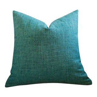 Teal Blue Green Woven Pillow Cover 18x18 For Sale