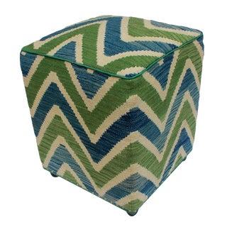 Arshs Deetta Ivory/Green Kilim Upholstered Handmade Ottoman For Sale
