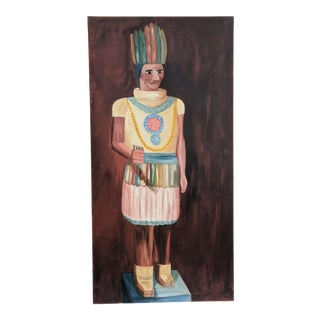 Vintage Native American Cigar Indian Statue Painting Signed For Sale