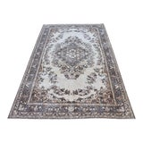 Image of Vintage Handmade Oushak Antique Floral Design Unique Hand Knotted Area Rug Traditional Tribal Home-Office Decor 5x9 Ft For Sale