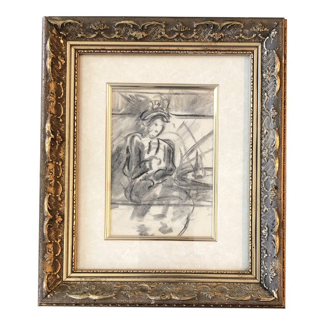 Vintage Original Charcoal Figure Study Sketch 1940's For Sale