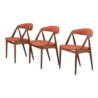 1960s Vintage A-Frame Model 31 Kai Kristiansen for Schou-Andersens Møbelfabrik Chairs- Set of 3 For Sale