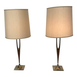 Gerald Thurston for Laurel Lamp Wishbone Table Lamps with Shades - a Pair For Sale