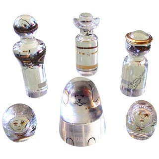 Set of Six Kosta Boda Glass Paper Weights For Sale