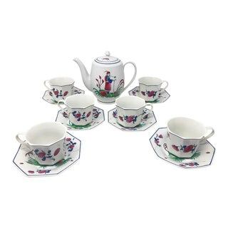 Vintage 1980s Chinoiserie Hand-Painted Tea Pot W/ 6 Teacups & Saucers For Sale