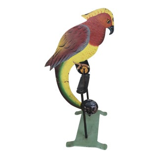 Painted Iron Parrot on Swing For Sale