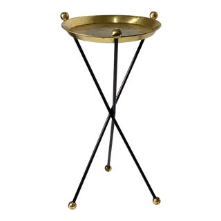 1950s Hollywood Regency Modernist Brass Tripod Tray Side Table For Sale