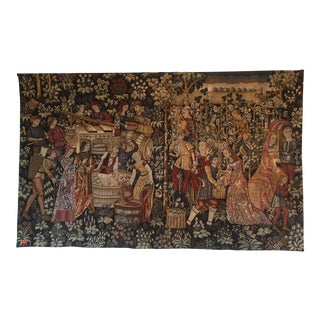 """Cluny Museum, French Point De l'Halluin Handmade Replica Tapestry - """"Botanical Wine Crush"""" For Sale"""