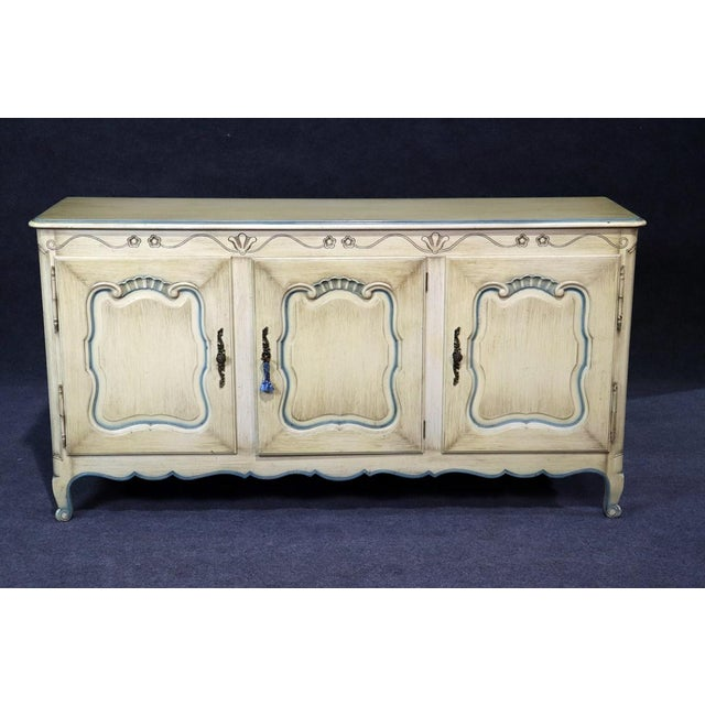 Cream French Louis XV Style Paint Decorated Sideboard For Sale - Image 8 of 8