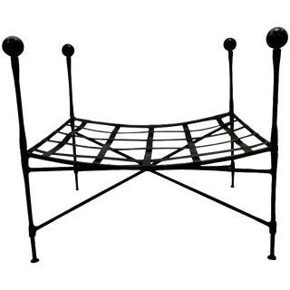 Mario Papperzini for Salterini Italian Wrought Iron Ottoman For Sale