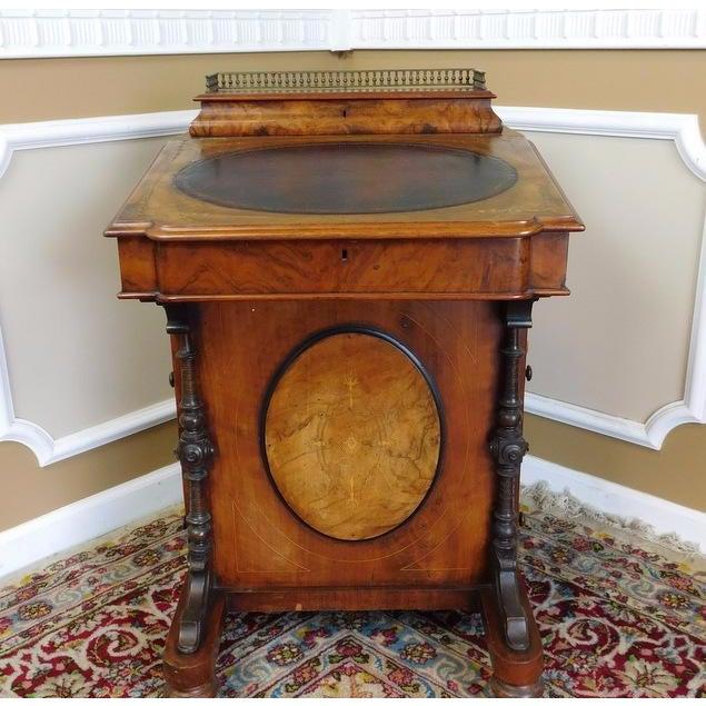 Victorian English Burl Walnut Davenport Desk - Image 3 of 9