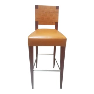 Andreu World Urbe Mahogany & Leather Stool For Sale