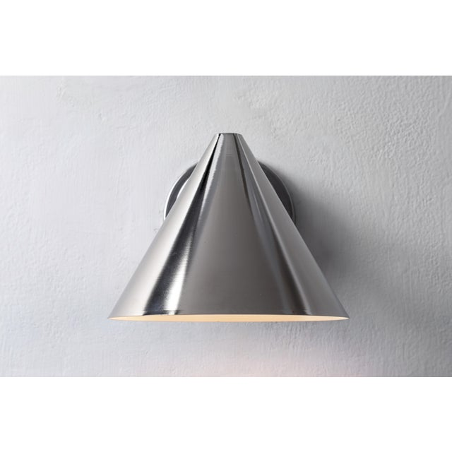 Early 21st Century Hans-Agne Jakobsson 'Mini-Tratten' Polished Nickel Outdoor Sconces - a Pair For Sale - Image 5 of 8