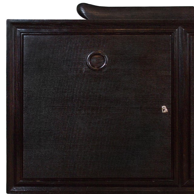 Wood 1940s Sideboard by Paolo Buffa, Ebonized Oak, Japanese Style - Italy For Sale - Image 7 of 9