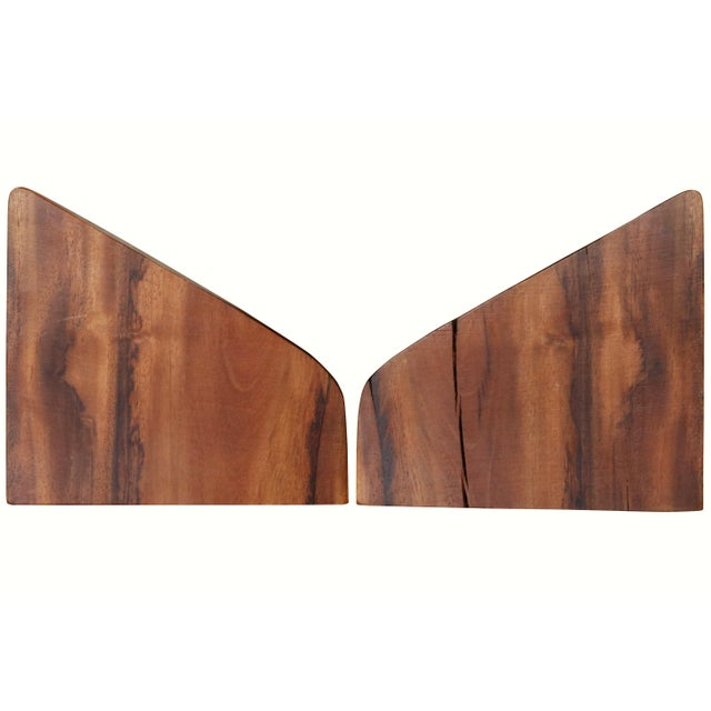 Late 20th Century Sculptural Wood Block Bookends, a Pair For Sale - Image 5 of 6