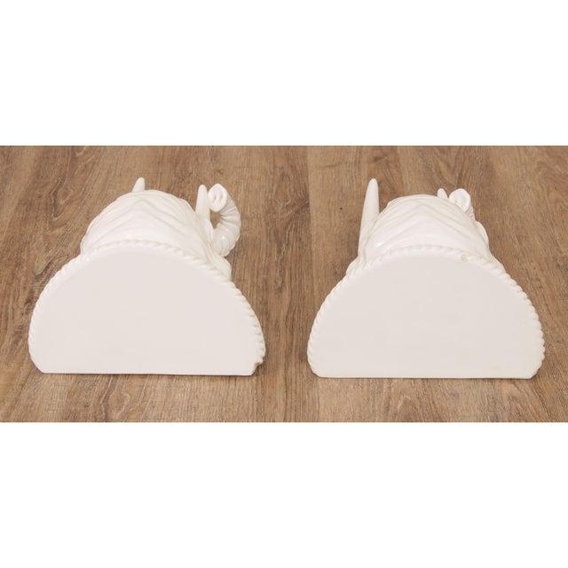 Hollywood Regency Vintage Italian Ceramic Pair White Elephant Wall Shelves For Sale - Image 4 of 13