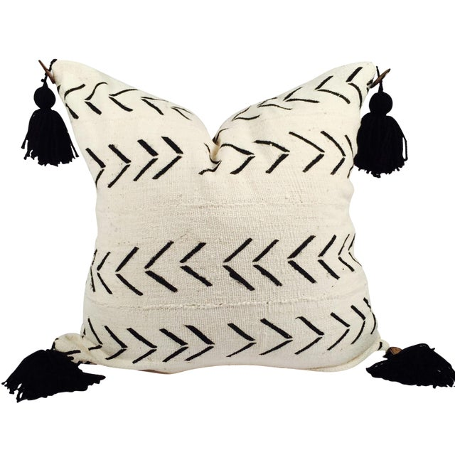 "22"" Pompom Black & White Mud Cloth Pillow - Image 1 of 5"