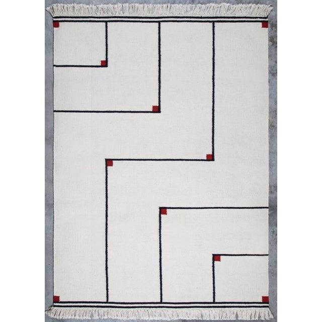 "Fabric VIBEKE KLINT ""VERTIGO"" FLAT-WEAVE CARPET, 1970S For Sale - Image 7 of 8"