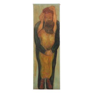 Vintage Mid-Century Embracing Figures Oil Painting For Sale