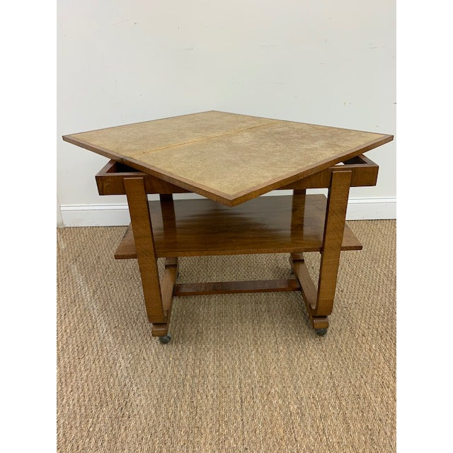 Wood American Deco Side Table With Pivoting Fold-Out Top For Sale - Image 7 of 10