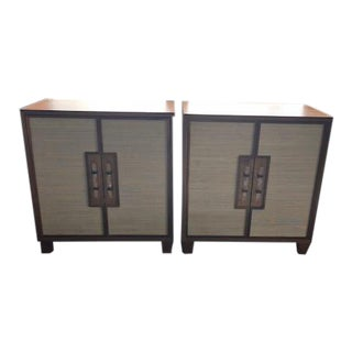 Worlds Away Inset Grasscloth and Acrylic/Bronze Hardware 2 Door Cabinets - a Pair