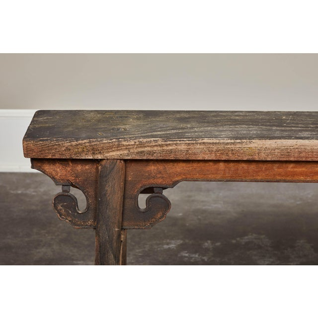 Wood 20th Century Chinese Wooden Bench For Sale - Image 7 of 8