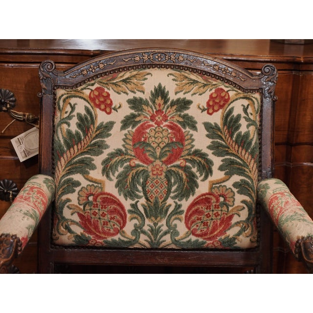 French Provincial 19th Century Walnut French Fauteuil For Sale - Image 3 of 9